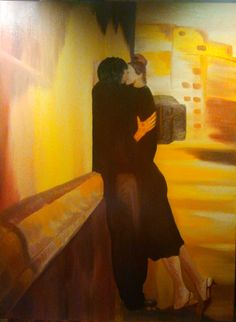Il bacio – oil on canvas (60x80 cm)  La passione del primo bacio $690