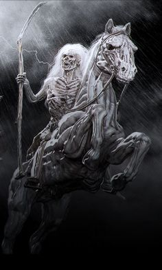 The four horsemen by chokata (detail) Grim Reaper Art, Grim Reaper Tattoo, Dark Artwork, Skull Artwork, Arte Horror, Horror Art, Four Horsemen Of The Apocalypse Tattoo, Skeleton Art, Charcoal Drawings
