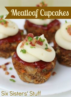 Meatloaf Cupcakes from SixSistersStuff.com. A tasty, fun dinner your whole family will love! {Don't worry, the frosting is mashed potatoes} #dinner #recipes #meatloaf