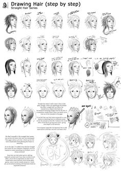 como desenhar mangá anatomia włosy hair pinterest drawings