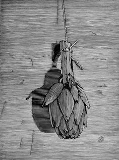 Filiz Uçar .Chris Pig, Artichoke, linocut, edition of 25 signed & numbered, image size