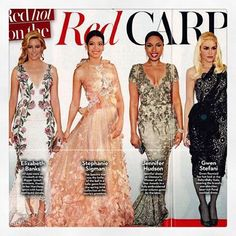 Red hot on the red carpet. X Marchesa in @okmagazine for their piece on a few of our red carpet favorites this year. Featuring Elizabeth Banks, Stephanie Sigman, Jennifer Hudson, and Gwen Stefani