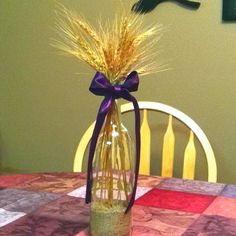 wheat centerpieces wedding | Wine bottle and wheat for Wedding centerpiece