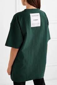 Vetements - Oversized embroidered cotton-jersey T-shirt Green Cotton, High Neck Dress, T Shirt, Clothes, Dresses, Dark, Image, Fashion, Turtleneck Dress