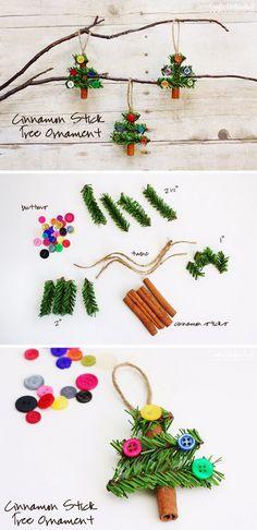 Ooolala! Dollar Store #teacher gifts!!! DIY Cinnamon Stick Tree Ornaments.