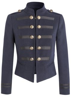 Cropped military jacket for women in Pantone Reflecting Pond (like indigo blue) Read about color and fashion and stuff like that for fall: http://www.boomerinas.com/2015/06/26/10-pantone-fall-colors-for-autumn-2015-winter-2016/