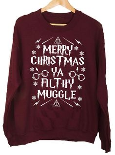merry christmas you filthy muggle harry potter christmas jumper sizes small med large xl no fuse returns postage uk free working days overseas working - Harry Potter Ugly Christmas Sweater
