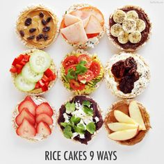 Cakes 9 Ways - The Chic Site I love Rice Cakes! See how I transformed my favorite snack 9 different ways!I love Rice Cakes! See how I transformed my favorite snack 9 different ways! Healthy Meal Prep, Healthy Eating, Healthy Recipes, Simple Healthy Snacks, Rice Cakes Healthy, Healthy College Snacks, Diet Snacks, Rice Cake Snacks, Healthy Snacks