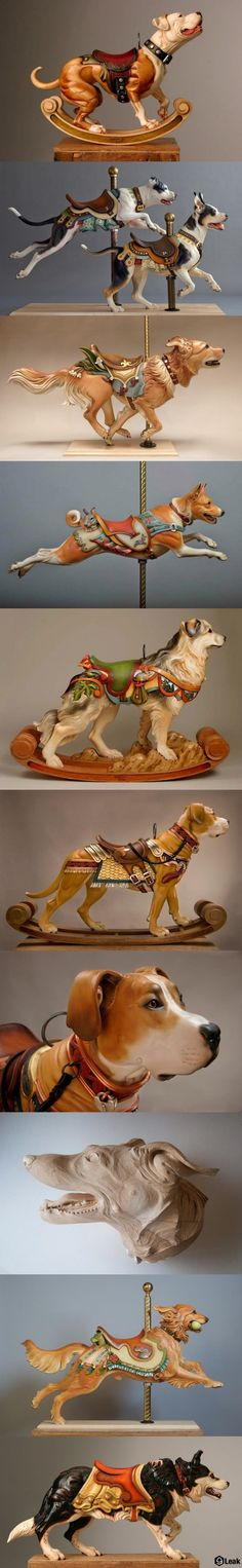 Beautiful wood carved carousel, by artist Tim Racer.