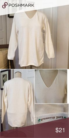 Beautiful Cream Bulky Sweater Excellent Condition!  Super Cozy. Not to thick but thick enough to keep you warm. gramercy park Sweaters V-Necks