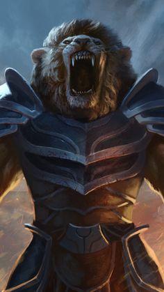 Battle, cry lion, artwork, warrior, fantasy, 720x1280 wallpaper