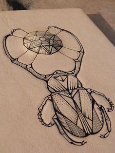 geometric scarab tattoo - Google Search