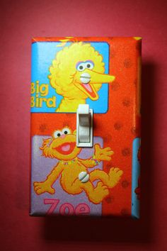 Sesame Street Big Bird & Zoe Light Switch Plate Cover Comic Book boys girls child baby kids room home decor bedroom nursery seseme st by ComicRecycled on Etsy