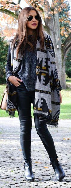 Grey Multi Patterned Knit Scarf