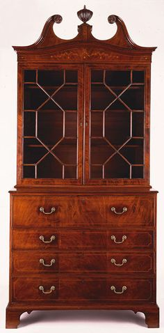 Secretary-and-bookcase, Charleston, 1785–1790. Mahogany and mahogany veneer with white cedar, red cedar, and white pine.