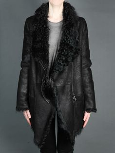 Cozy Wednesday w/ Giorgio Brato shearling coat with asymmetric zip closure and two snap pockets