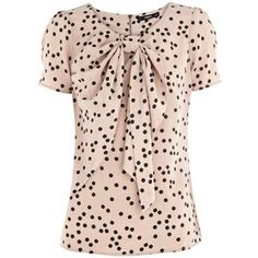 spot bow top - tucked in w/ black slacks or a black pencil skirt w/ baby pink heels - <3