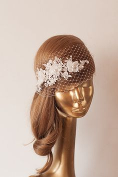 Ivory+Lace+BIRDCAGE+VEIL+Vintage+Style+Birdcage+by+ancoraboutique,+$140.00