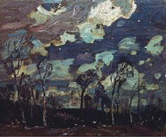 Nocturne: The Birches (Alternate title: Nocturne), 1916 by Tom Thomson on Curiator, the world's biggest collaborative art collection. Emily Carr, Canadian Painters, Canadian Artists, Art And Illustration, Nocturne, Landscape Art, Landscape Paintings, Tom Thomson Paintings, Group Of Seven