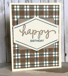 Concord and Plaid Background Masculine Card Idea Michelle Gleeson Diy Birthday Card For Boyfriend, Birthday Cards For Son, Happy Birthday Dad, Homemade Birthday Cards, Masculine Birthday Cards, Funny Birthday Cards, Masculine Cards, Homemade Cards For Men, Birthday Humorous