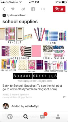 Preppy school supplies