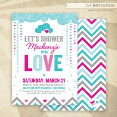 101 best baby shower invitations images on pinterest baby shower retro rain shower bridal shower custom printable invitation pinkteal filmwisefo