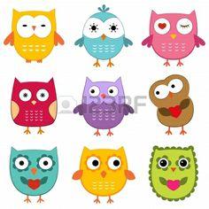 Cartoon owls set