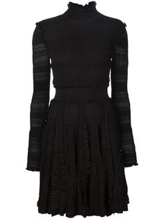 Black Ladder Funnel Neck Dress