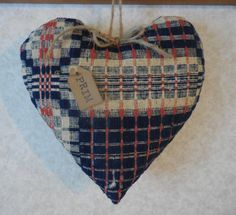 Primitive Cupboard Heart Vintage Red/Blue Woven Coverlet Patriotic Vintage Decor by auntiemeowsprims on Etsy
