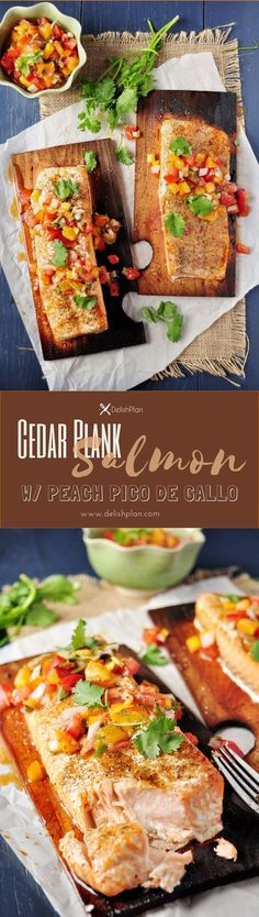 Grilled salmon on cedar planks that are soaked in white wine and elegantly served with peach pico de gallo for a greatly refreshing combination. Read more at  http://www.delishplan.com/cedar-plank-salm%E2%80%A6ch-pico-de-gallo/