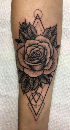 Just got my first tattoo and I couldn't be happier with it. Geometric Rose by Ja. - Just got my first tattoo and I couldn't be happier with it. Geometric Rose by Javi Campos (Ink Bo - Trendy Tattoos, Cute Tattoos, Unique Tattoos, Beautiful Tattoos, Tattoos For Women, Symbolic Tattoos, Tatoos, Hand Tattoos, Body Art Tattoos