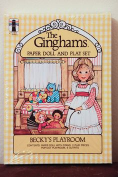 The Ginghams: Becky's Playroom Paper Doll and Playset ; Paper Dolls Book, Vintage Paper Dolls, Paper Toys, Vintage Toys, Paper Crafts, Vintage Cards, My Childhood Memories, Childhood Toys, Family Memories