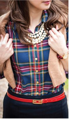 46579c48ea Crew - Perfect tartan with red belt accent. Almost looks like Country Day  plaid!