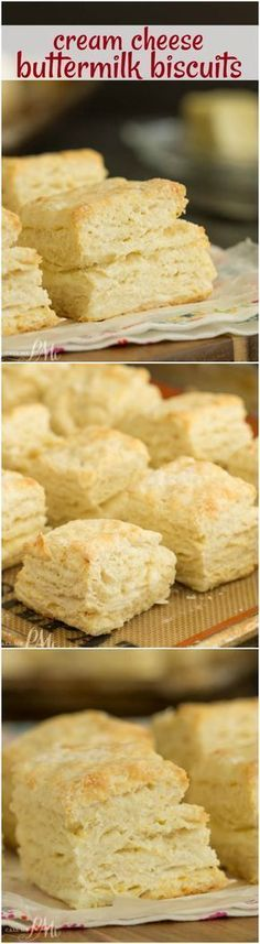 Breakfast recipe. Fluffy and tender Cream Cheese Buttermilk Biscuits are made with butter, cream cheese, and buttermilk. Bake up a batch of this homemade biscuit recipe, they easy and tasty!