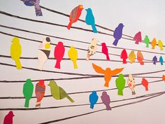 Birds on a Wire Wall Decals Birds for the wall. Could be vinyl decals, but what if it was thin rope or fabric strips and fabric birds?Birds for the wall. Could be vinyl decals, but what if it was thin rope or fabric strips and fabric birds? Art For Kids, Crafts For Kids, Arts And Crafts, Ecole Art, Art Club, Art Plastique, Art Auction, Auction Ideas, Teaching Art