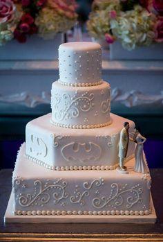 White Batman Wedding Cake