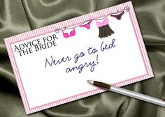 10 Bridal Shower Advice Cards, Party Game Card, Bridal or Lingerie Shower, Bachelorette Party, Pink Stripes, Sexy Lingerie