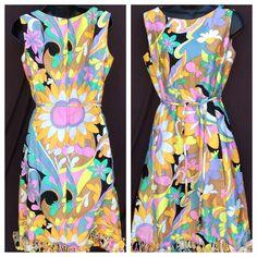 Mcmullen Flower Power Mod Pop Art Go Go Dress Belt
