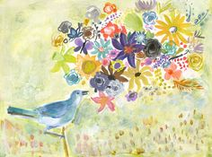(I like the soft colors on this one) Bird Singing