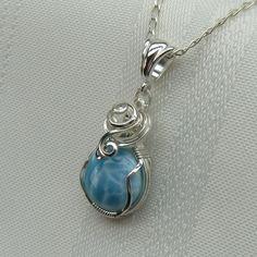 Larimar Jewelry - Genuine Larimar Necklace -  Larimar - Larimar Pendant - Blue. $65.00, via Etsy.