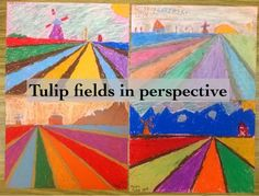 Tulip fields of Holland in perspective