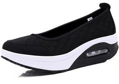 Lisyline Women's Mesh Breathable Shape Ups Tennis Walking Slip on High Heel Sneakers ** See this great product.