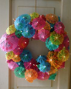 Colorful Umbrella Wreath