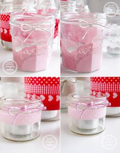 Ghirlanda di Popcorn: red, pink and neutral..my jars