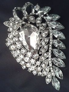 LARGE SILVER CRYSTAL PEAR DROP VINTAGE BROOCH, WEDDING, PARTY, SCARF, GIFT