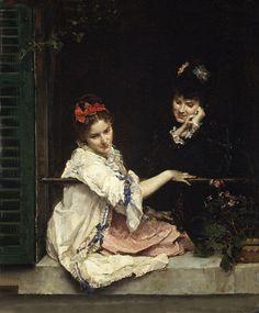 Girls at a Window (Raimundo de Madrazo y Garreta - 1875)