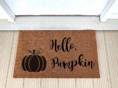 Excited to share this item from my shop: Coir Doormat Hello Pumpkin Fall Autumn Door Mat Fall Doormat, Coir Doormat, Outside Door Mats, Custom Mats, Rubber Mat, Craft Night, Painted Pumpkins, Fall Pumpkins, Rug Making