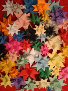 Good instructions for folded paper stars. We dipped them in wax & sprinkled with glitter for Christmas ornaments when I was a little girl.