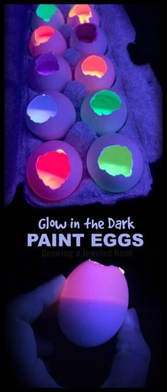 Paint Filled GLOW Eggs on Canvas (Growing A Jeweled Rose)