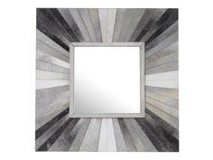 Grey Hairon Leather Wall Mirror